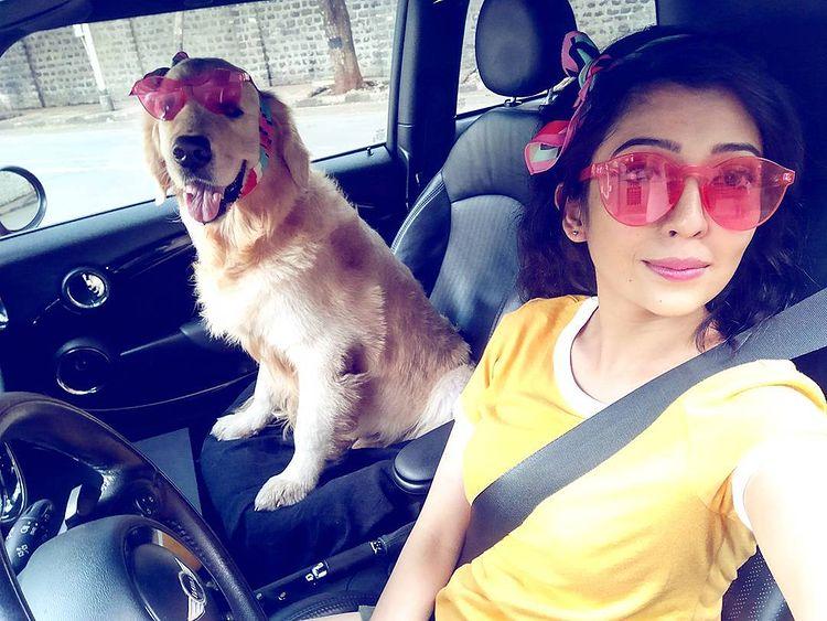 Barkha Singh with her dog