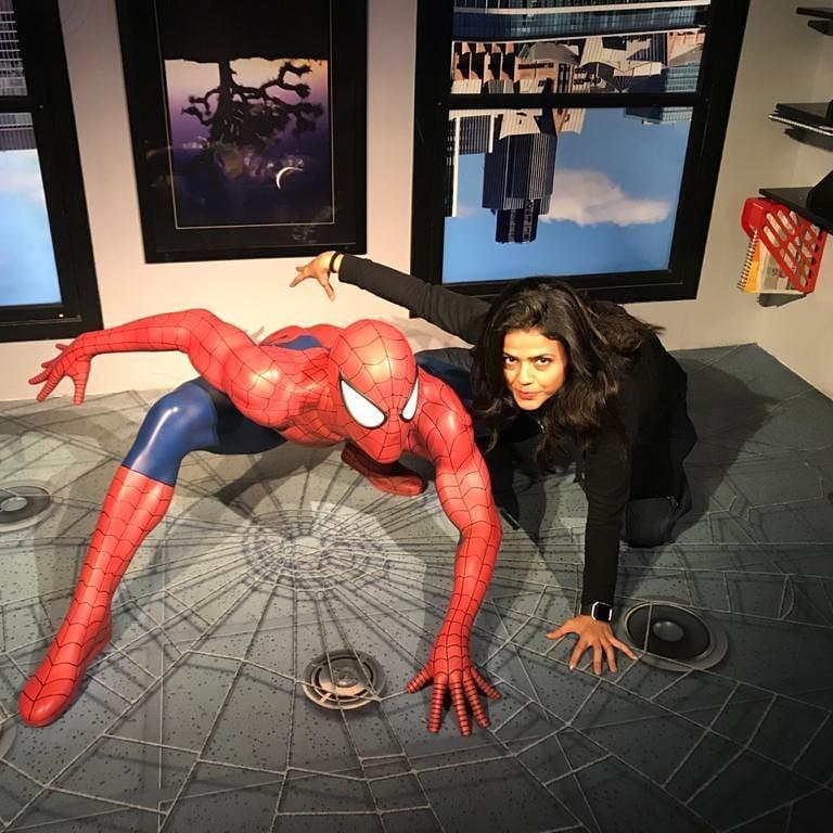 Sweta Singh with Spiderman