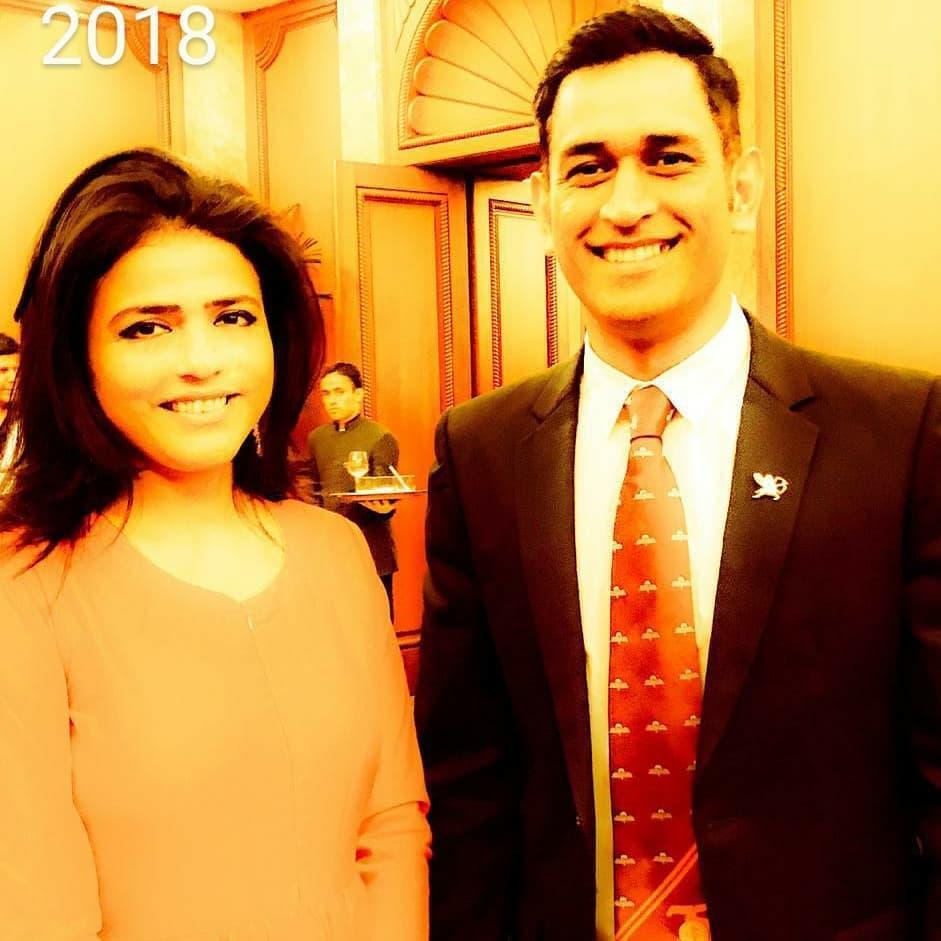 Sweta Singh with MS Dhoni
